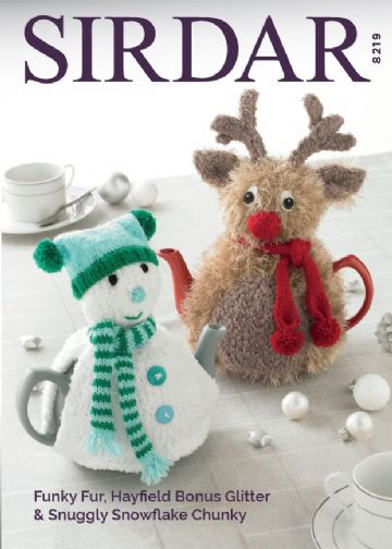 Sirdar Teacosies Knitting Pattern 8219 , snowman and reindeer